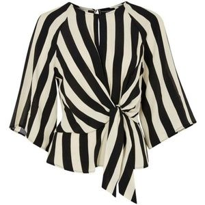 Topshop Humbug Stripe Slouch Knot Blouse - Size 4